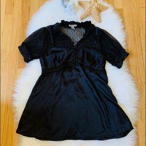 Forever Black Lace & Satin Corset Shirt Size Large